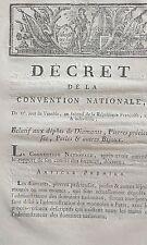 Décret relatif aux dépots de Diamants Pierres précieuses Perles Bijoux 1794