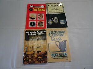 Price Guides Lot 4 Books Tape Measures Antiques Carnival Glass Blue & White Vtg