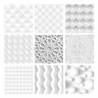 Tile Stickers Transfers Kitchen Bathroom White / Grey Various Tones 3D effect