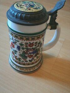 Vintage German Stein Beer Mug With Lid Original Bmf Bierseidel
