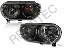 Black Housing Headlights RH & LH Pair Set For 2008-2014 Dodge Challenger SE R/T