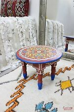 Moroccan Table Round Zouak Small Hand Painted Wood Burgundy Limited Edition ZT18