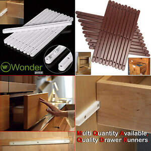 Pairs Draw Drawer Runners Kitchen Bedroom Cabinet Plastic Guide Rail Rails White