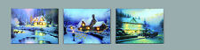 REDUCED 2 Designs LED Light Up Christmas Snow Scene Picture/Canvas 40 x 30cm