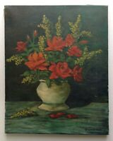 Tableau Ancien Post-impressionniste Bouquet Roses et Mimosas Huile toile signée
