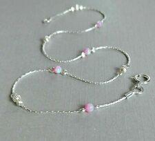 ANKLET OPAL Solid 925 Sterling Silver Chain pale pink Summer Ankle Bracelet