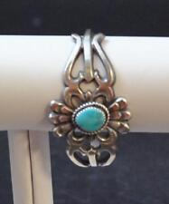Navajo Native American Sand Cast Turquoise With Matrix SS 925 Cuff By E Mitchell