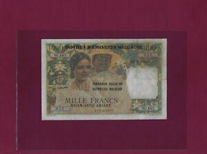 MADAGASCAR 1000 FRANCS = 200 ARIARY 1952 ND 1961 P-54 VF+ RARE COMORES COMOROS