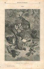 Nature Morte Gibier Faisan Canard Lièvre Peinture de Freeman GRAVURE PRINT 1868