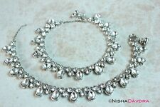 Silver Rhodium Toned Anklets Bellydancer Indian Bollywood Payal Anklet Beachwear