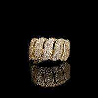1.00TCW Created Diamond Pave Ring Solid 14K Yellow Gold S-Shape Band