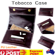 Brown PU Leather Cigarette Tobacco Pouch Bag Case Rolling Paper Mens Xmas Gift