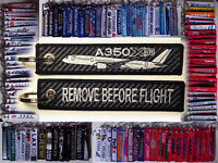 Keyring AIRBUS A350 Carbon Print Tag w Plane Remove Before Flight keychain pilot