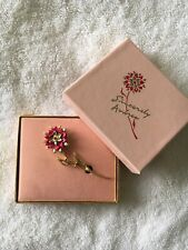 Vintage Goldtone Brooch Thick Enamel Pink Flower with original box made in USA