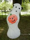 LIGHTED 35 INCH 3-D * GHOST with PUMPKIN * BLOWN MOLD HALLOWEEN DISPLAY PROP