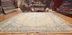 """Primitive Antique 1900-1939's Muted Natural Dye Wool Pile Oushak Rug 6'2""""x8'7''"""