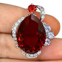 RASPBERRY RED TOPAZ PEAR PENDANT SILVER 925 UNHEATED 33.45 CT 22X16 MM.