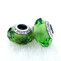 2 PANDORA Silver 925 Murano Charm Green Faceted Beads #321MZ