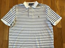 Polo Ralph Lauren Short Sleeve White Blue Striped Loose Polo Shirt Mens Large