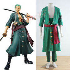 Cafiona Hotsale One Piece Roronoa Zoro Cosplay Costume Outfit Any Size Halloween