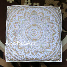 """35"""" White Golden Extra Large Floor Cushion Pillow Cover Square Pet Dog Bed Cover"""