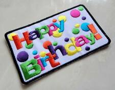 Cute Pretty Colorful Happy Birthday! Embroidered Iron on Patch Free Shipping