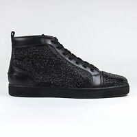 100% Authentic Christian Louboutin Louis Strass Flat Leather Black RRP £2100