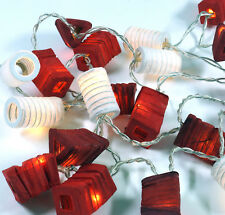 MINI LATERNEN 20er LED-Lichterkette DEKO LICHT Papier LAMPIONS rot-mix - NEU