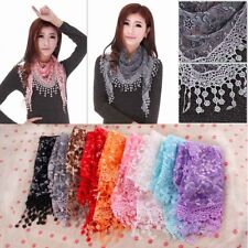 Women Lace Sheer Floral Print Triangle Veil Scarf Shawl Wrap Tassel CO