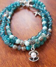 Mala Beads Tropical Blue Beach Pearl Meditation Necklace Clam Shell Sea Bohemiam