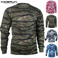 Men's Long Sleeve Camo Jumper Tops Hooded Hoodie Sweatshirt Pullover Sweatshirts