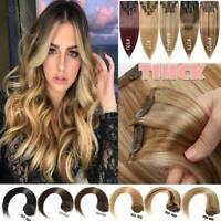 CLEARANCE Clip In Double Weft Full Head 100% Remy Human Hair Extensions THick US