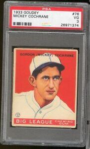 1933 Goudey Mickey Cochrane #76 Philadelphia Athletics PSA 3 SET BREAK COLOR !!