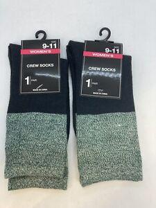 2 Pair Greenbrier Women's Crew Socks Size 9 - 11 Charcoal Gray/Green