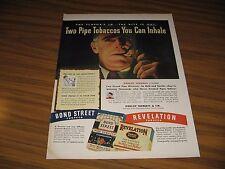 1946 Print Ad Bond Street & Revelation Pipe Tobacco You Can Inhale Man Smokes