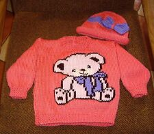 TEDDY BEAR..SIZE 12-18 MONTHS.. NEW HANDKNITTED JUMPER PLUS HAT TO MATCH