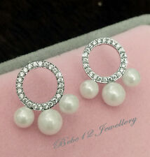 Simulated Diamond Circle/Ring/Pearl Stud Earring/RGE680