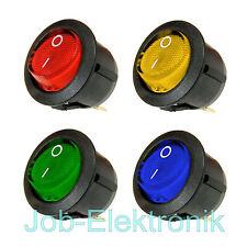 Wippschalter 1polig beleuchtet rot gelb grün blau rund Kipp Wippenschalter 230V