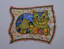 Fabric Cotton Panel, Square, Cat with Yarn - Fancy Cat Design