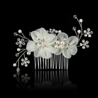 Flower Handmade Head Clip Pearl Hair Comb Crystal Headband Bridal Headpiece