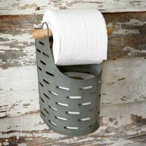 Olive Bucket Hanging Toilet Paper Holder in weathered Tin