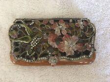 Hydrangea Hummingbird Business Card Holder Flowers Metal Enamel Jeweled Magnetic