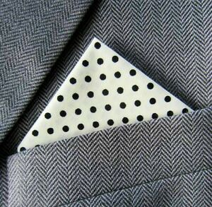 SUPERNOVA Cream Black Polka Dot Pocket Handkerchief Square Scooter Mod