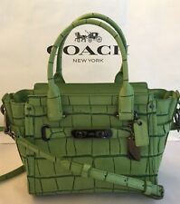 COACH 37698 Swagger 21 Carryall Satchel Exotic Embossed Leather DK/Pistachio NWT