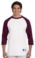 Champion Mens S-3XL Tagless Tee ¾ Sleeve Baseball 6.1 ounce Raglan T-Shirt T1397