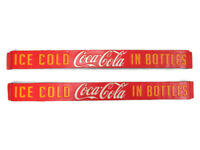Coca-Cola Red Tin Set of 2 Door Push Signs Ice Cold In Bottles