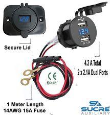 12V/24V USB 4.2A Fast Charger + Voltage Power Car Bike Cigarette Lighter Socket