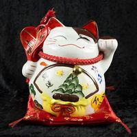 Gran Hucha Gato Amuleto de la Suerte Japonés Maneki Neko Cerámica 91 - Zafu