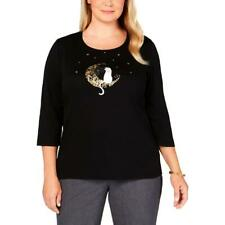 Karen Scott Womens Black Graphic Curvy Pullover Top Shirt Plus 1X BHFO 4166