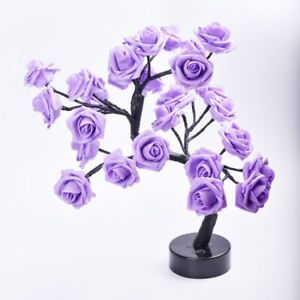 LED Table Lamp Rose Flower Tree USB Home Christmas Party Decor Gift Bedroom Deco